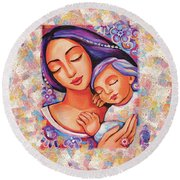 Dreaming Together Round Beach Towel by Eva Campbell