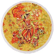 Ganges Flower Round Beach Towel by Eva Campbell