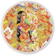 Pray Of The Lotus River Round Beach Towel by Eva Campbell