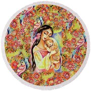 Little Angel Dreaming Round Beach Towel by Eva Campbell