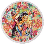 Dancing Of The Phoenix Round Beach Towel by Eva Campbell