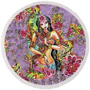 Kuan Yin Round Beach Towel by Eva Campbell