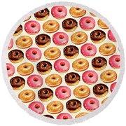 Donut Pattern Round Beach Towel