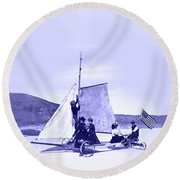 Vintage Ladies And Gentlemen Sail On The Desert Queen Round Beach Towel