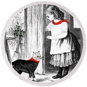 Round Beach Towel featuring the painting Vintage Girl Lets In Her Gray Cat by Marian Cates