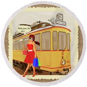 Hello From The 50s Tram Round Beach Towel
