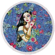 Gita Round Beach Towel by Eva Campbell