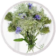 Queen Anne's Lace With Purple Flowers Round Beach Towel