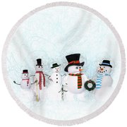 Round Beach Towel featuring the painting Snowmen by Methune Hively