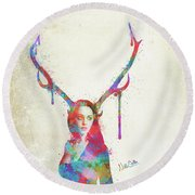 Round Beach Towel featuring the digital art Song Of Elen Of The Ways Antlered Goddess by Nikki Marie Smith