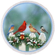 Winter Birds And Christmas Garland Round Beach Towel by Crista Forest