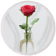 Round Beach Towel featuring the painting Smell The Rose by Ivana Westin