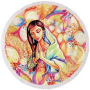 Little Himalayan Pray Round Beach Towel by Eva Campbell
