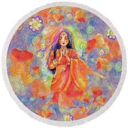 Seashell Wish Round Beach Towel by Eva Campbell