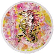 Black Sea Mermaid Round Beach Towel