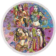 Eastern Flower Round Beach Towel by Eva Campbell