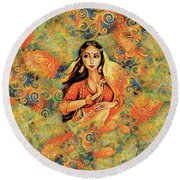 Flame Round Beach Towel by Eva Campbell