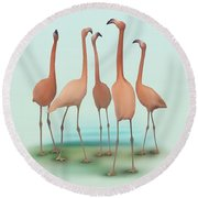 Round Beach Towel featuring the painting Flamingo Mingle by Ivana Westin