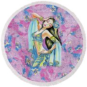 Amrita Round Beach Towel by Eva Campbell