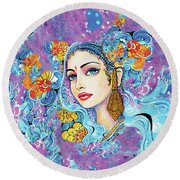 The Veil Of Aish Round Beach Towel by Eva Campbell