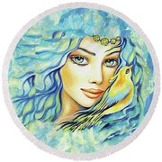 Bird Of Secrets Round Beach Towel by Eva Campbell