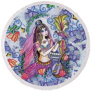 Scheherazade's Bird Round Beach Towel by Eva Campbell