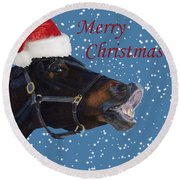 Snowy Horse Jumping Christmas Round Beach Towel