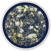 Leaves And Needles On Pavement With Border Round Beach Towel