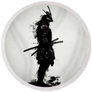 Armored Samurai Round Beach Towel by Nicklas Gustafsson