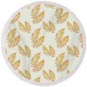 Round Beach Towel featuring the mixed media Gold Fern Leaf Art by Christina Rollo