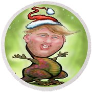 Merry Trumpy Christmas Round Beach Towel by Kevin Middleton