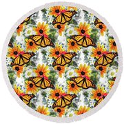 Round Beach Towel featuring the mixed media Butterfly Pattern by Christina Rollo