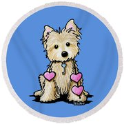 Heartstrings Cairn Terrier Round Beach Towel