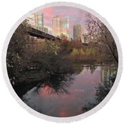 Austin Hike And Bike Trail - Train Trestle 1 Sunset Triptych Right Round Beach Towel