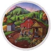 Folk Art Americana - Farmers Shucking Harvesting Corn Farm Landscape - Autumn Rural Country Harvest  Round Beach Towel