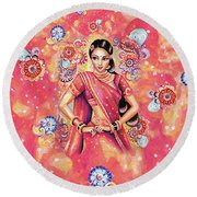Round Beach Towel featuring the painting Devika Dance by Eva Campbell