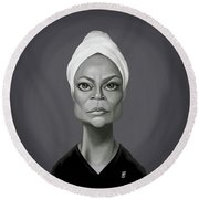 Celebrity Sunday - Eartha Kitt Round Beach Towel by Rob Snow
