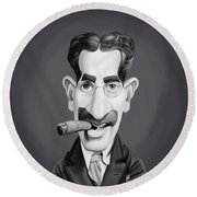 Celebrity Sunday - Groucho Marx Round Beach Towel by Rob Snow