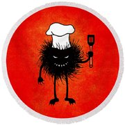 Evil Bug Chef Loves To Cook Round Beach Towel