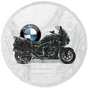 Round Beach Towel featuring the digital art 2016 Bmw-k1600gt Motorcycle With 3d Badge Over Vintage Blueprint  by Serge Averbukh