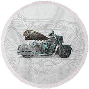 Round Beach Towel featuring the digital art 2017 Indian Chief Classic Motorcycle With 3d Badge Over Vintage Blueprint  by Serge Averbukh