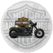 Round Beach Towel featuring the digital art 2017 Harley-davidson Softail Slim S Motorcycle With 3d Badge Over Vintage Background  by Serge Averbukh