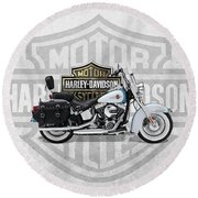 Round Beach Towel featuring the digital art 2017 Harley-davidson Heritage Softail Classic  Motorcycle With 3d Badge Over Vintage Background  by Serge Averbukh