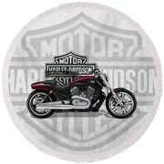 Round Beach Towel featuring the digital art 2017 Harley-davidson V-rod Muscle Motorcycle With 3d Badge Over Vintage Background  by Serge Averbukh