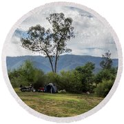 Round Beach Towel featuring the photograph The Good Life by Linda Lees