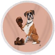 The Boxer Colour Round Beach Towel by Rob Snow