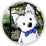 Westie At Dogwood Window Round Beach Towel