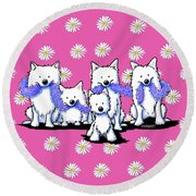 Sams And Westie Round Beach Towel