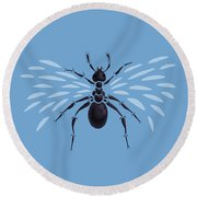 Abstract Winged Ant Round Beach Towel