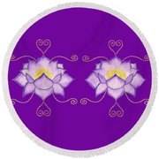 Round Beach Towel featuring the mixed media Purple Lotus by Elizabeth Lock